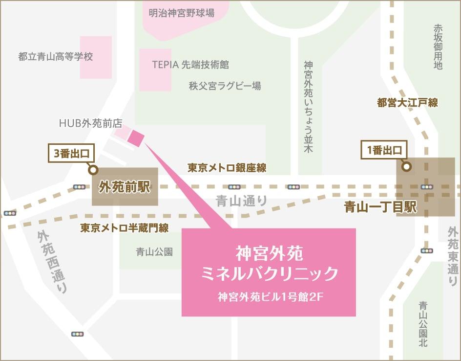 神宮外苑ミネルバクリニックまでのアクセスマップ